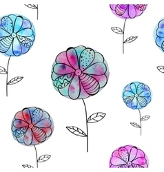 Seamless pattern with pink blue flowers of vector