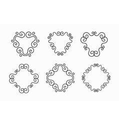 Set of Elegant Black Twirl Calligraphic vector image