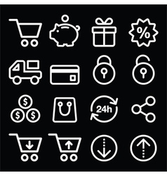 Shopping online store white icons on black vector image