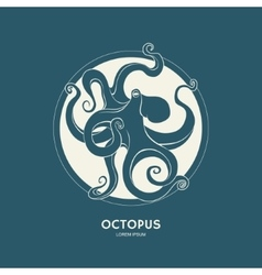 Silhouette of octopus template for labels vector