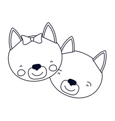 Sketch silhouette caricature faces of cat couple vector