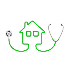 stethoscope in shape of house in green design vector image