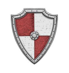 viking shield colored hand drawn sketch vector image vector image