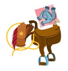 wild west saddle gloves rope and a horseshoe vector image vector image