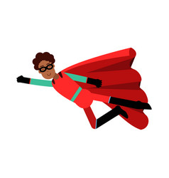 Young black man in classic red superhero costume vector
