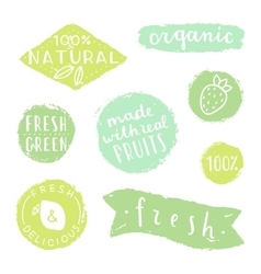 Set of badges for packaging design natural fresh vector