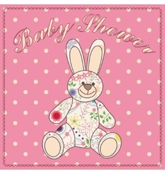 Baby shower with bunny toy vector