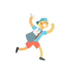 Kid with handbag running delivering newspapers vector