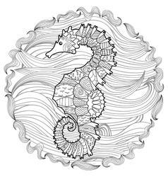 Hand drawn swimming sea horse vector