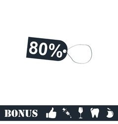80 percent discount icon flat vector image