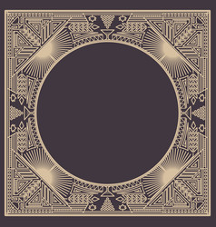 Floral and geometric monogram frame on dark gray vector