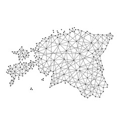 Map of estonia from polygonal black lines and dots vector