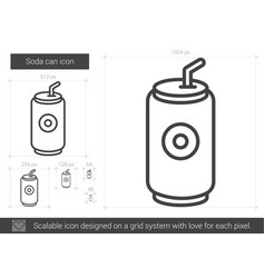 Soda can line icon vector