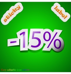 15 percent discount icon sign symbol chic colored vector