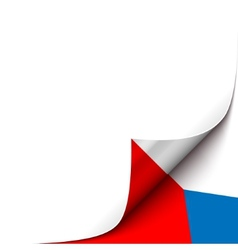 Curled up paper corner on czech flag background vector