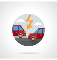Round flat color car crash icon vector