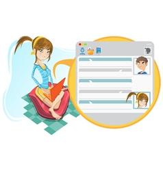 Online social media girl chatting vector