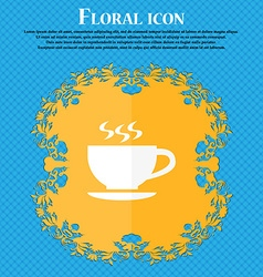 The tea and cup icon floral flat design on a blue vector