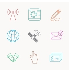 Handshake contacts and gps satellite icons vector