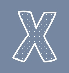 X alphabet letter with white polka dots on blue vector