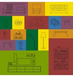 collection of modern outline furniture icon vector image
