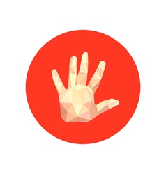abstract origami hand on red circle vector image vector image