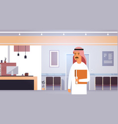 Arab business man holding folder with documents vector