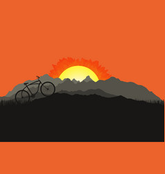 bicycle silhouette on mountain nature landscape vector image vector image