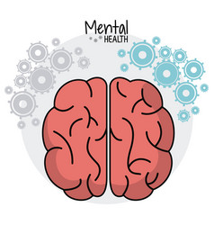 Brain human mental health gears image vector
