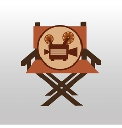 Camera movie vintage chair icon design vector