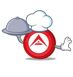 Chef wiith food ark coin mascot cartoon vector