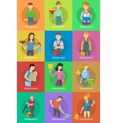 Collection of member of the cleaning service staff vector