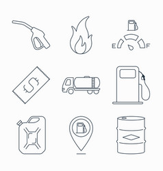 Collection of outline fuel station icons vector