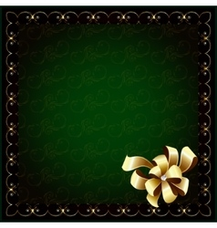 Dark green background and bow vector image