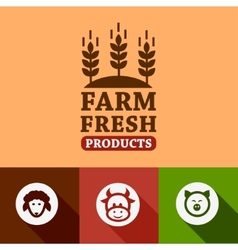 flat farm products emblems vector image vector image