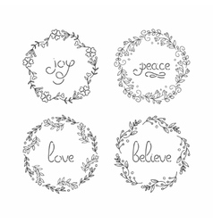 Floral wreath set line lettering greeting vector