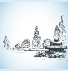 garden artistic drawing water fountain and poplars vector image