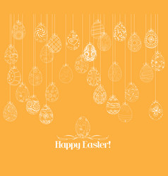 hanging easter eggs ornament card vector image vector image