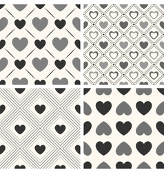 Heart shape seamless patterns Black and vector image