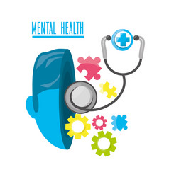 Mental healthy with stethoscope and hospital vector