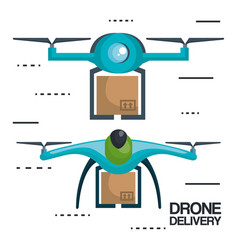 Modern delivery of the package by flying drone vector