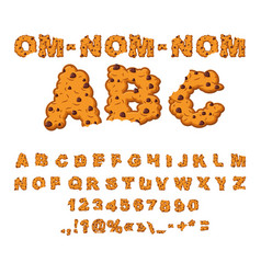 Om nom nom abc cookies font biscuits with vector
