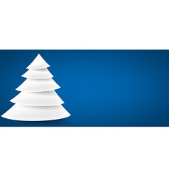 Paper christmas tree over blue vector image vector image