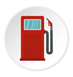 Red gasoline pump icon circle vector