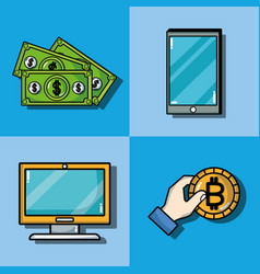 set blockchain security technology with data vector image