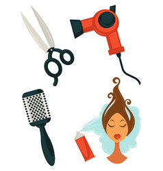 Set of hairdressing items vector