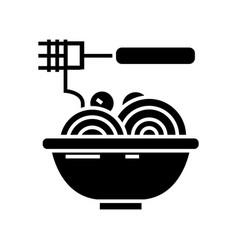 Spaghetti bolognese with meatballs icon vector