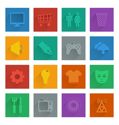Square media icons set 2 vector