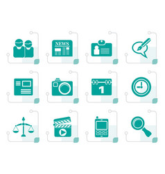 Stylized web site computer and business icons vector