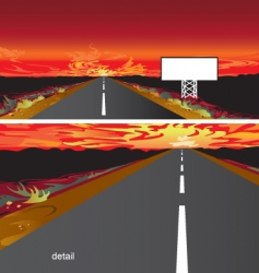 sunset on the road vector image vector image